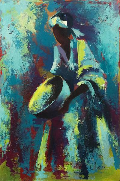 'Calabash Dance I' - Blue Expressionist Painting of a Dancer from Ghana