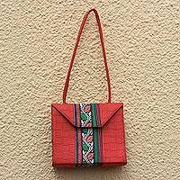 Cotton and faux leather shoulder bag, 'Geranium Vine' - Cotton and Faux Leather Shoulder Bag in Geranium from Ghana