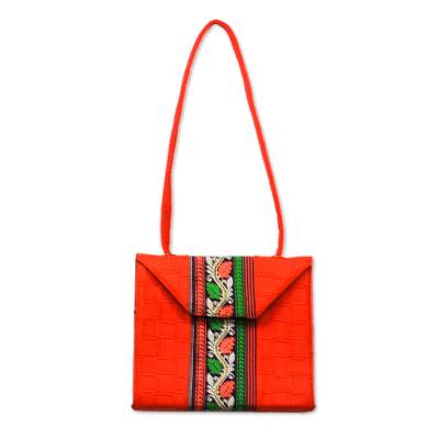 Cotton and Faux Leather Shoulder Bag in Geranium from Ghana