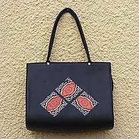 Cotton accented faux leather shoulder bag, 'Nhyira Squares' - Black Faux Leather Shoulder Bag from Ghana
