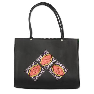 Black Faux Leather Shoulder Bag from Ghana