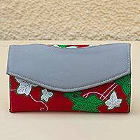 Cotton clutch, 'Leafy Modernity' - Faux Leather Accented Cotton Clutch from Ghana