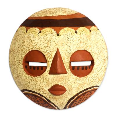 Beige and Orange African Wood Mask Crafted in Ghana
