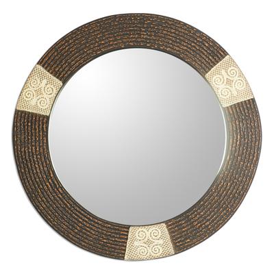 Dwennimmen Adinkra-Themed Round Wood Wall Mirror from Ghana