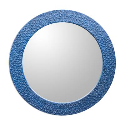 Aluminum and Wood Wall Mirror in Blue from Ghana