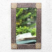 Wood wall mirror, 'Adinkra Hope'
