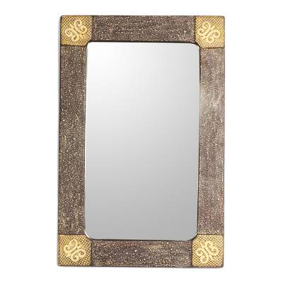 Adinkra-Themed Rectangular Wood Wall Mirror from Ghana