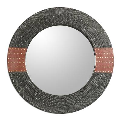 Dotted Wood and Aluminum Round Wall Mirror from Ghana