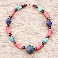 Recycled glass beaded necklace, 'Eco Aseda' - Recycled Glass Beaded Necklace Crafted in Ghana