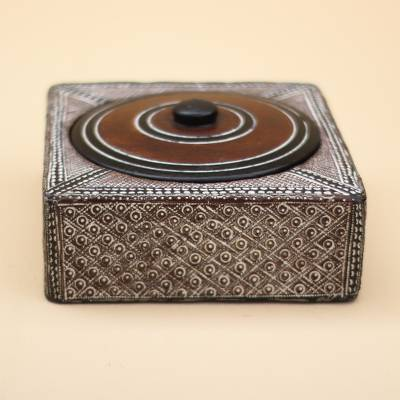 Wood decorative box, 'Square Treasure' - Square Wood and Aluminum Decorative Box from Ghana
