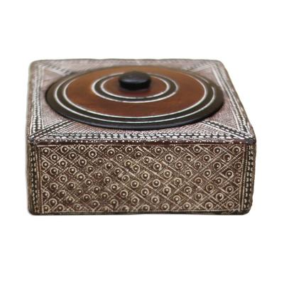Wood decorative box, 'Treasure' - Square Wood and Aluminum Decorative Box from Ghana