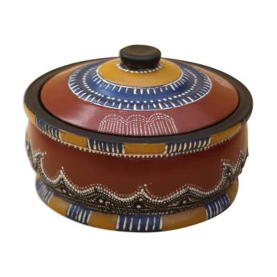 Colorful Wood Decorative Jar Crafted in Ghana