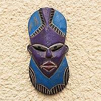 African wood mask, 'Gyidi Face' - Blue and Purple African Wood Mask from Ghana