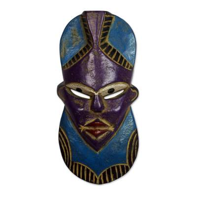 Blue and Purple African Wood Mask from Ghana