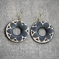 Wood dangle earrings, 'Queenly Flowers' - Round Floral Sese Wood Dangle Earrings from Ghana