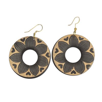 Wood dangle earrings, 'Queenly Flowers' - Round Floral Sese Wood Dangle Earrings from Ghana