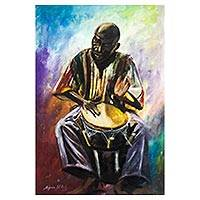 'Pop Cultured (Drummer)' - Signed Expressionist Painting of a Drummer from Nigeria