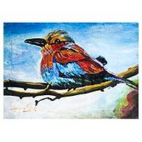 'Joy of the Day' - Signed Impressionist Painting of a Bird from Nigeria