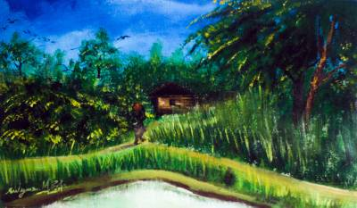 'Village Scene' - Signed Impressionist Landscape Painting from Nigeria