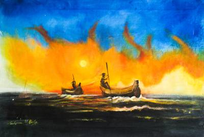 'Colorful Nature' - Signed Nautical Impressionist Painting from Nigeria