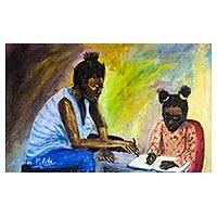 'Great Helper' - Signed Impressionist Mother and Child Painting from Nigeria