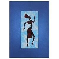 'Kpanlogo Dance II' - Painting of a Dancing Woman in a Red Cotton Dress from Ghana