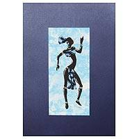 'Kpanlogo Dance III' - Painting of a Dancing Woman in a Blue Cotton Dress