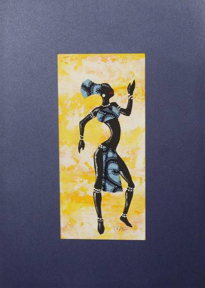 'Kpanlogo Dance Yellow I' - Signed Painting of a Dancing Woman in a Blue Cotton Dress