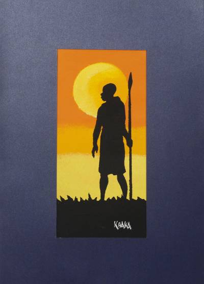 'Warrior' - Signed Expressionist Painting of a Spear Warrior from Ghana