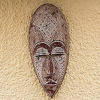 African wood mask, 'Rustic King' - Rustic African Wood Mask Crafted in Ghana