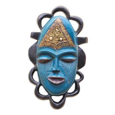 Blue Sese Wood and Brass African Mask from Ghana