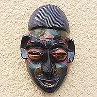 African wood mask, 'Colorful Ewe'