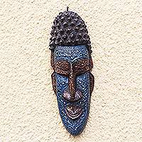 African wood mask, 'Kabuame Face' - Blue and Brown African Wood and Aluminum Mask from Ghana