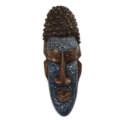 Blue and Brown African Wood and Aluminum Mask from Ghana