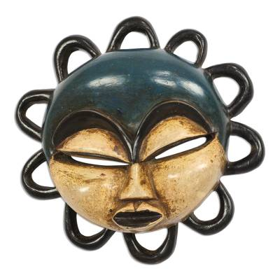 Blue and Beige African Wood Mask from Ghana