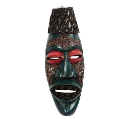 Blue Sese Wood and Aluminum African Mask from Ghana