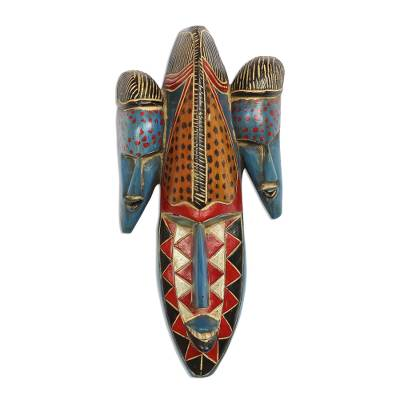 African wood mask, 'Triple Head' - Colorful African Wood Mask Depicting Three Heads from Ghana