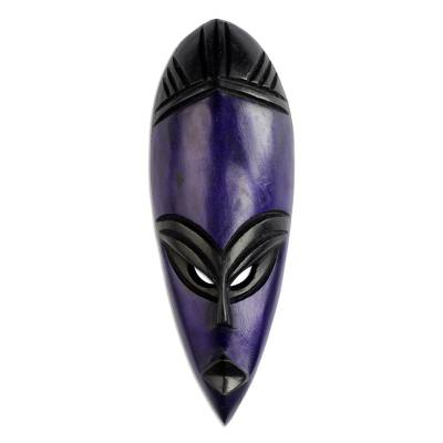 African Sese Wood Mask in Cobalt from Ghana