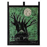 Batik wall hanging, 'My Village Mamfe' - Batik wall hanging