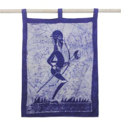 Batik cotton wall hanging, 'The Mystic Hunter of Mamfe' - Handcrafted West African Cotton Batik Wall Hanging