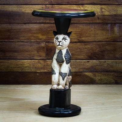 Wood accent table, 'Bush Cat' - Cat-Themed Sese Wood Accent Table from Ghana