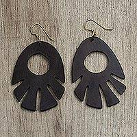 Ebony wood dangle earrings, 'Labadi Breeze' - Ebony Wood Dangle Earrings Hand Made in Ghana
