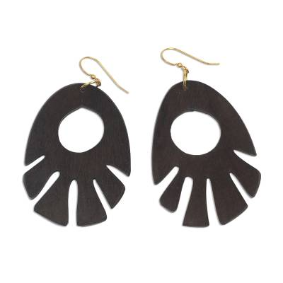 Ebony wood dangle earrings, 'Labadi Breeze' - Ebony Wood Dangle Earrings Hand Made in Ghana