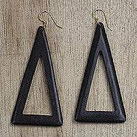 Ebony wood dangle earrings, 'Beautiful Triangles' - Triangular Ebony Wood Dangle Earrings from Ghana