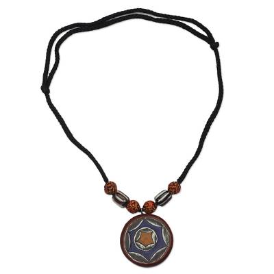 Wood and recycled glass pendant necklace, 'Starry Colors' - Sese Wood and Recycled Glass Pendant Necklace from Ghana