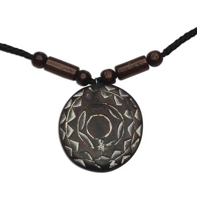 Wood beaded pendant necklace, 'Brilliant Light' - Wood Pendant Necklace Hand Crafted in Ghana