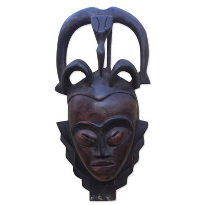 Bird-Themed African Sese Wood Mask Crafted in Ghana