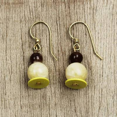 Agate and recycled plastic beaded dangle earrings, 'Eco-Friendly Love' - Agate and Recycled Plastic Beaded Dangle Earrings