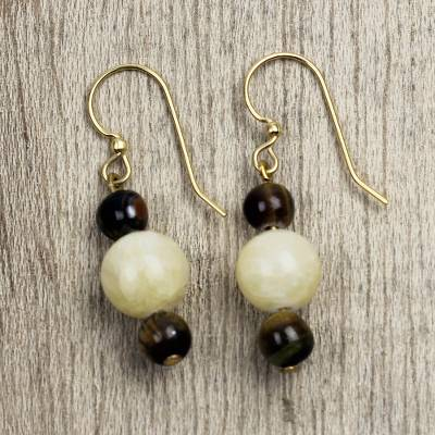 Agate and tiger's eye beaded dangle earrings, 'Miyanko Beauty' - Agate and Tiger's Eye Beaded Dangle Earrings from Ghana