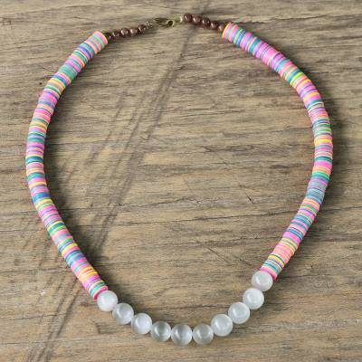 Cat's eye and agate beaded necklace, 'Eco Admiration' - Cat's Eye and Agate Beaded Necklace from Ghana